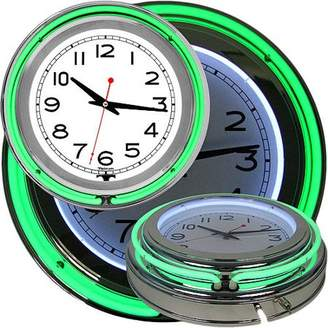 Trademark Art Retro Neon Wall Clock - Battery Operated Wall Clock Vintage Bar Garage Kitchen Game Room 14 Inch Round Analog by Lavish Home (Green and White)