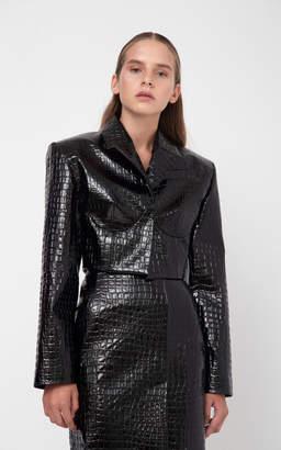 Aleksandre Akhalkatsishvili Crocodile Textured Cropped Blazer