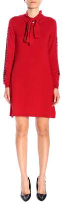 Moschino Dress Short Dress With Bow And Maxi Side Logo