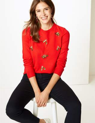 Marks and Spencer Embellished Mistletoe Christmas Jumper