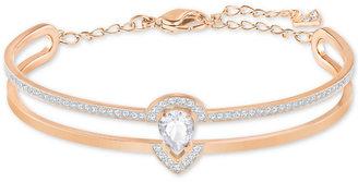 Swarovski Rose Gold-Tone Pavé Double Row Bangle Bracelet $129 thestylecure.com
