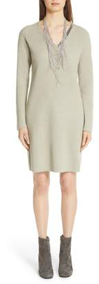 Fabiana Filippi Bead Detail Wool, Silk & Cashmere Sweater Dress
