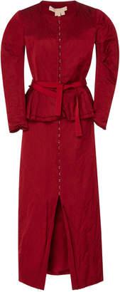 Brock Collection Pamela Peplum Satin Coat Dress