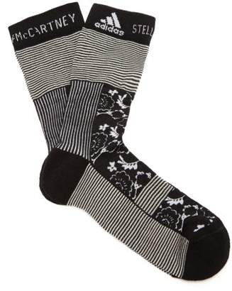 adidas by Stella McCartney Flower Jacquard Socks - Womens - Black White