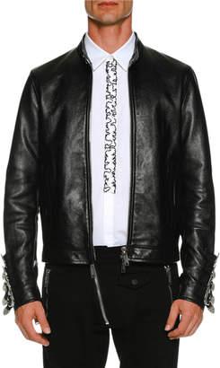 DSQUARED2 Leather Biker Jacket w/ Buckle Cuffs