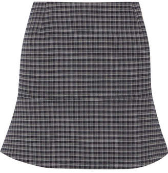 Sonia Rykiel Fluted Checked Crepe Mini Skirt - Navy