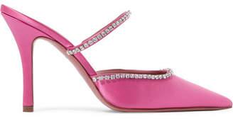 Swarovski Amina Muaddi - Gilda Crystal-embellished Satin Mules - Pink