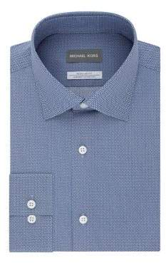 Michael Kors Regular-Fit Airsoft Stretch Diamond-Print Dress Shirt