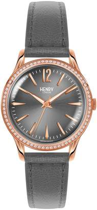 Henry London - Ladies 34mm Finchley Leather Watch With Stone set Bezel