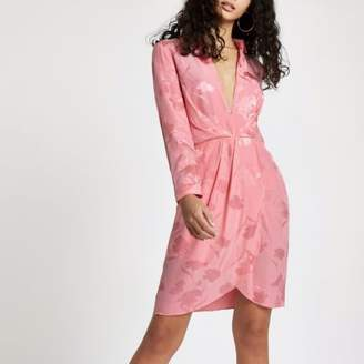 River Island Womens Pink plunge long sleeve shirt dress