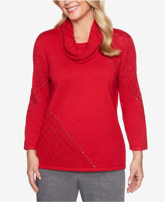 Alfred Dunner Sutton Place Pointelle-Knit Studded Sweater