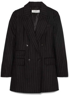 Max Mara Double-breasted Pinstriped Wool And Cashmere-blend Blazer - Black