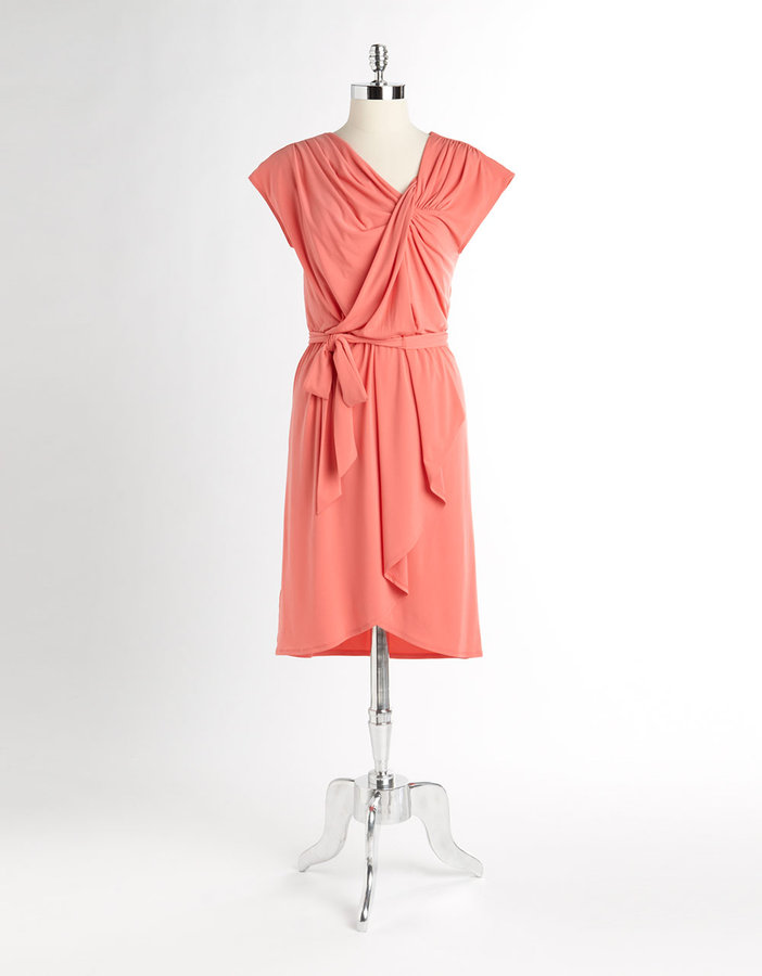 Max & Cleo Cap-Sleeved Drape Front Dress