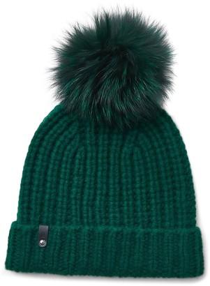 Mackage Cashmere & Wool Beanie with Genuine Fox Fur Pom