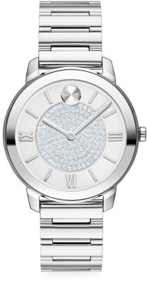 Movado Bold Ion-Plated Stainless Steel & Pave Crystal Bracelet Watch