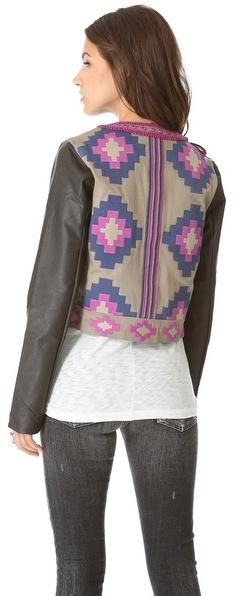 Candela Dakota Leather Sleeve Jacket