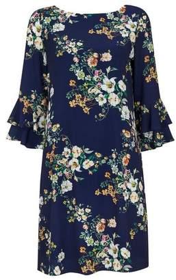 Wallis Navy Floral Flute Sleeve Dress