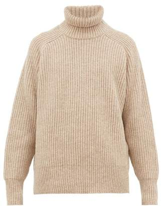 Ami Roll Neck Ribbed Wool Sweater - Mens - Beige