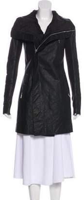 Rick Owens Knee-Length Leather Coat
