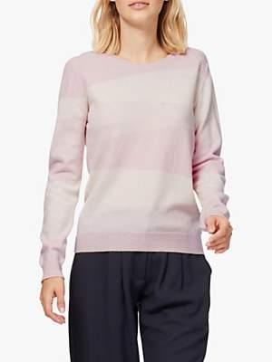 0d3c0b0c9db Diagonal Stripe Cashmere Jumper, Tea Rose/White