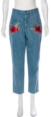 N. Nicholas Embroidered High-Rise Jeans
