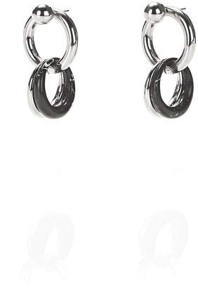 Alexander Wang Mixed Marble And Rhodium Links Earrings