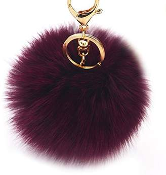 Dikoaina Faux Fox Fur Pom Pom Keychain Bag Purse Charm Gold Ring Fluffy Fur Ball