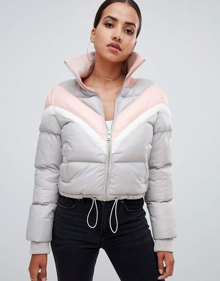 colourblock padded jacket in grey