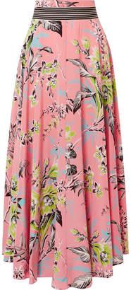 Diane von Furstenberg Floral-print Silk Crepe De Chine Maxi Skirt - Coral