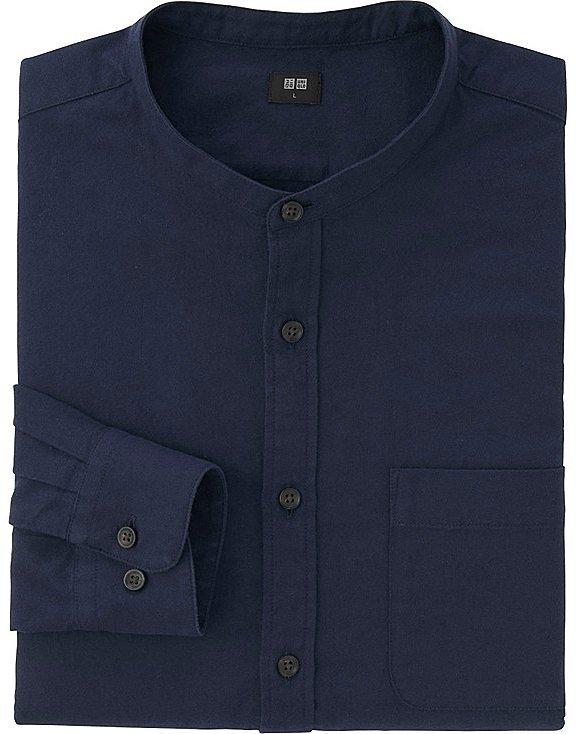 Men Flannel Stand Collar Long Sleeve Shirt 5