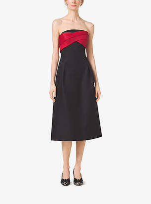 Michael Kors Strapless Silk And Wool Mikado Midi Dress