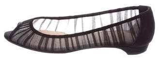 Christian Louboutin Sheer Peep-Toe Flats