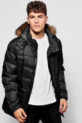 boohoo Padded Parka Jacket With Faux Fur Hood