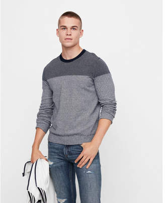 Express plaited crew neck cotton sweater