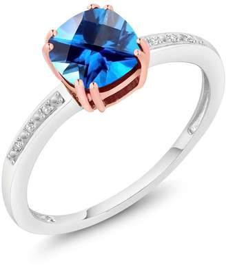 Swarovski Gem Stone King 10K Rose and White Gold Diamond Accent Ring Natural Kashmir Blue Topaz Cut by 1.58 cttw, Available in size 5,6,7,8,9)