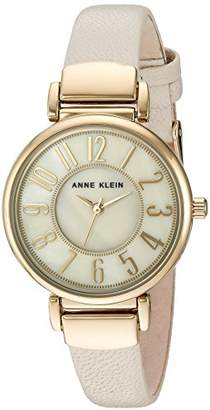 Anne Klein Women's AK/2156IMIV Easy To Read Gold-Tone and Ivory Leather Strap Watch