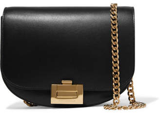 Victoria Beckham Half Moon Box Chain Leather Shoulder Bag - Black