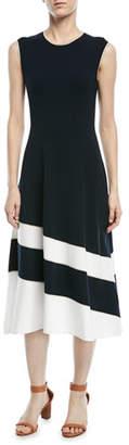 Escada Sleeveless Fit-and-Flare Diagonal-Stripe Midi Dress