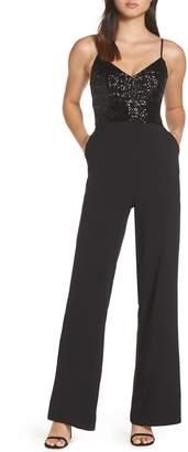 Eliza J Sequin Embellished Jumpsuit