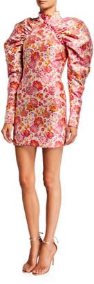 Rotate by Birger Christensen Number 1 Puff-Sleeve Jacquard Mini Dress