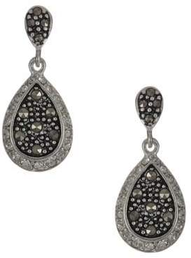Lord & Taylor Sterling Silver and Marcasite Teardrop Earrings
