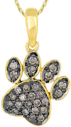 FINE JEWELRY 1/4 CT. T.W. Champagne Diamond 10K Yellow Gold Paw Print Pendant Necklace