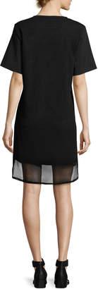 Neiman Marcus Finley Shawn Short-Sleeve Mesh Dress, Black