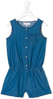 Lili Gaufrette embroidered chambray playsuit