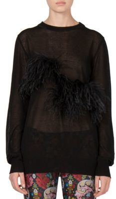 Marques'Almeida Ostrich Feather-Trim Sweater