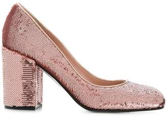 Pollini sequinned block heel pumps