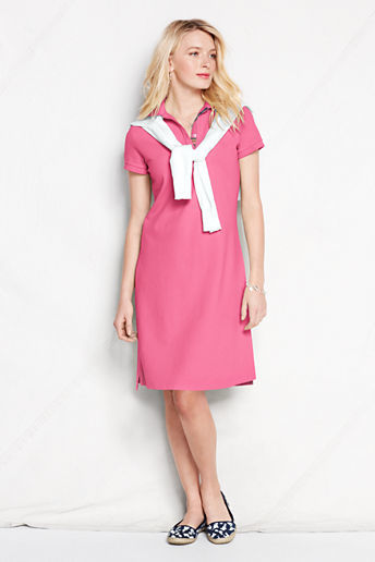 Lands' End Women's Petite Short Sleeve Polo Dress