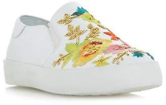 Dune Ladies EVANNI Embroidered Slip On Shoe in White Size UK 3