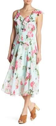Robbie Bee Ruffles Floral Asymmetrical Dress
