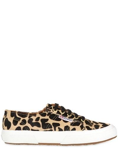 Leopard Printed Ponyskin Sneakers